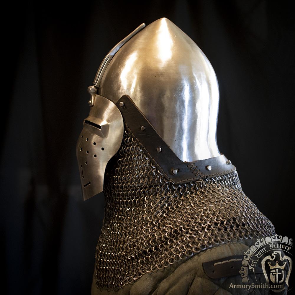 Bascinet Valardi with aventail for sale - armorysmith com